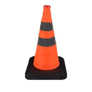 traffic cone foldable 50 cm weighted base with LED