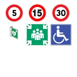 Traffic signs, icon signs and stickers