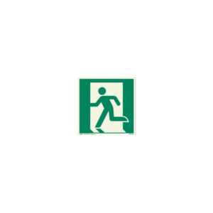 Icon sign - glow in the dark - glowing fluorescent emergency exit on the left