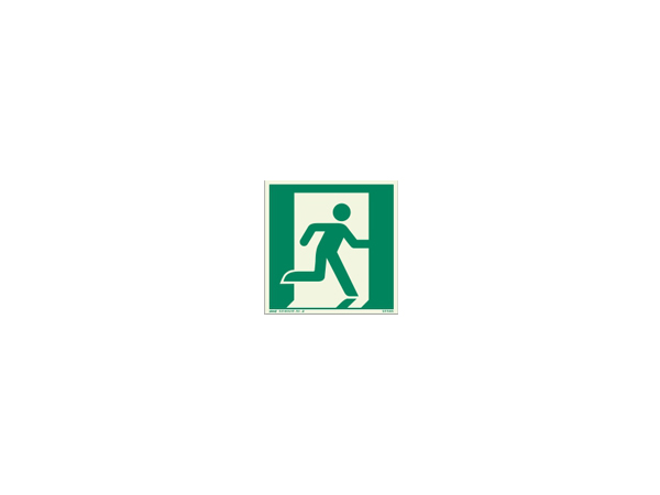 Icon sign - glow in the dark - glowing fluorescent emergency exit on the right