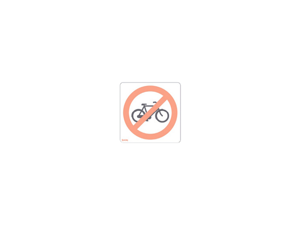 Sticker - mirrored - behind glass - no bicycles allowed