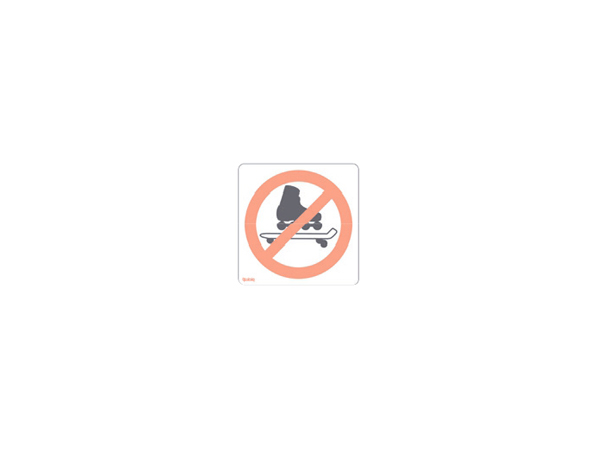 Sticker - mirrored - behind glass - no rollerblades skateboards allowed